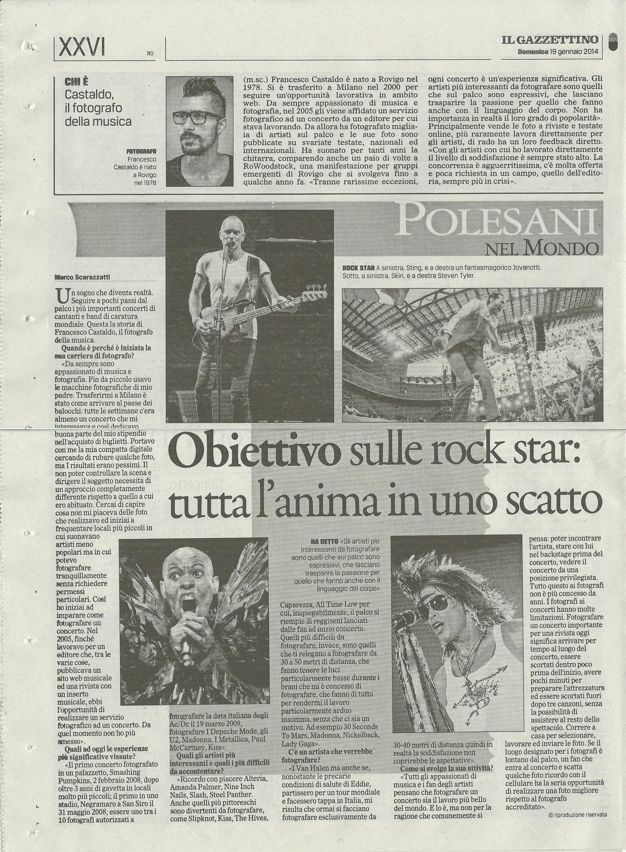 Intervista Gazzettino di Rovigo del 19 gennaio 2014